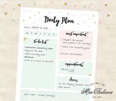 Daily Planner Printable To Do List Printable Daily par MissBalance