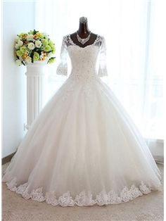 $ 148.71 Vintage Scoop Appliques Floor Length Wedding Dress with Sleeves - ericdress.com offers high quality  Vintage Scoop Appliques Floor Length Wedding Dress with Sleeves Wedding Dresses 2015 unit price of $ 148.71.