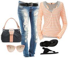 31 Fashion Colour Combinations - layers and destroyed jeans