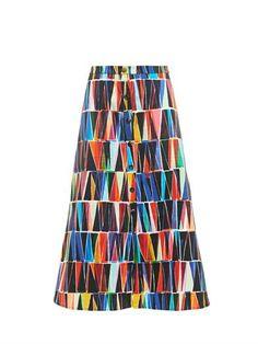 Saloni | Tassel-print stretch-cotton skirt