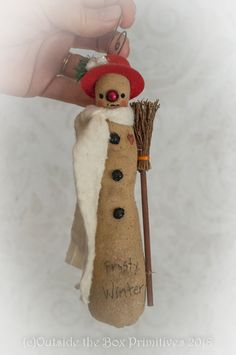 Created by Robin Seeber licensed folk artist. Snowman Christmas Decorations, Winter Decorations, Snowman Ornaments, Christmas Snowman, Christmas Holidays, Christmas Ornaments, Primitive Doll, Primitive Snowmen, Primitive Crafts