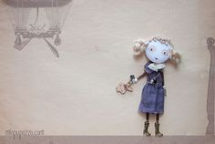 Art Doll Brooch Little Girl and Bunny mixed media by miopupazzo,