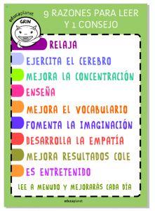 Poster  Grin Educaplanet - 9 razones para leer y 1 consejo.#leer #lecura Descarga el PDF desde la página de EDUCAPLANET