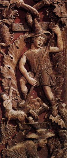 GOTHIC SCULPTOR, Italian Allegories of the Months: October mid-13th century Stone Basilica di San Marco, Venice