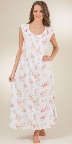 Carole Hochman Flutter Sleeve Cotton Knit Long Gown - Clear Dawn