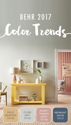 Keeping the main living area of your home fresh and modern is easier than ever with the BEHR 2017 Color Trends as your design inspiration. You'll simply love the look of this paint combination of Gold Hearted, Close Knit, Everything Rosy's, and Midnight S Room Colors, House Colors, Colours, 2017 Colors, Behr Colors, Neutral Colors, Paint Combinations, Home Trends, Paint Colors For Home