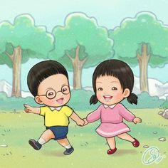 Mansebita & Sarangzuka lol... Suddenly I picturing them as Nobita & Shizuka, so I remake into this version~  #FanArt #Manse #송만세 #Sarang #Nobita #Shizuka #SongTriplets #SongBrothers #TheReturnOfSuperman #Triplets