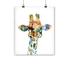 Baby giraffe watercolor art print Animal Art by Thenobleowl