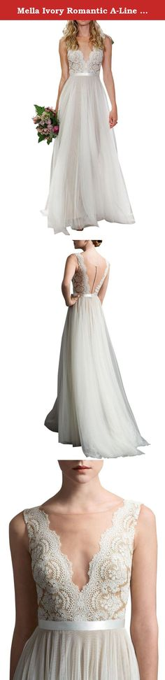 Mella Ivory Romantic A-Line Illusion Neckline Double V-Neck Soft Netting Wedding Dresses with Sash US04. Mella Romantic A-Line Illusion Neckline Double V-Neck Soft Netting Wedding Dresses with Sash Romantic A-Line gown with illusion neckline and plunging back neckline. Features hand-placed Carina Lace, covered buttons and Double-Faced Satin Ribbon at waist. Sweep train. Free Super Gift: 30$ worth of Long Tulle Bridal Veils with Lace appliques, up to 9 ft (approximately 3m), Same Lace…