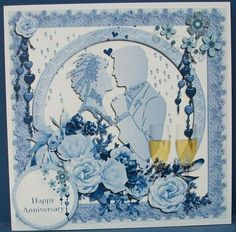 Wedding Anniversary Card In Blue on Craftsuprint designed by Frances Dent - made by Cheryl French - Printed onto glossy photo paper. Attached base image to 8x8 card stock using ds tape. Added text plate with 1mm foam pads. Ideal quick card just in case you forget! - Now available for download!