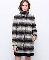 """Petite Ombre Plaid Coat - Wool-kissed, our richly textured ombre coat sports a gradated mix of black and grey that takes plaid to a whole new level. Funnel stand collar. Long sleeves. Hidden button front. On-seam pockets. Lined sleeves, unlined body. 32"""" long."""