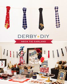 Kentucky Derby Party DIY: Preppy Neck Tie Garland // Hostess with the Mostess® Kentucky Derby, Tie Template, Cowboy Party, Horse Party, Party Garland, Derby Party, Boy First Birthday, Party Entertainment, Birthday Party Themes
