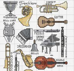 Schema punto croce Stumenti musicali 3