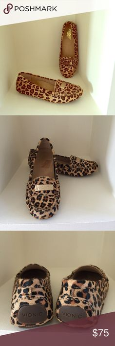 """VIONIC Leopard Pattern Driving Mocs Darling driving Mocs in an """"eye catching"""" leopard pattern by Vionic.  This company makes beautiful, but mostly comfortable, shoes for any occasion and are fabulous for all that walking you do on vacations .  No PP or trades.  Smoke and pet free home.  Will consider Reasonable offers  Vionic Shoes Moccasins"""