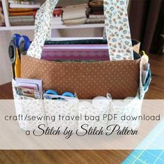 This bag is fast and easy to make and perfect for organizing all your sewing supplies. With eight small pockets and one long pocket, it's the perfect bag f