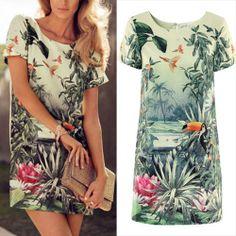 New Summer 2014 Fashion Flower Print Dress Women Short Sleeve Vintage Elegant skirt Fashion Saia Bandage Dresses vestidos casual $23.65