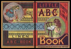 Front & back of book lithographed on linen 1889 NYC -- McLoughland Brothers / Little ABC Book | Sheaff : ephemera