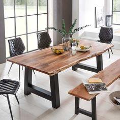 Baumkanten Esstisch Capinera aus Akazie Massivholz Schwarz Eisen Steel Table, Wood Table, Dining Room Table, Kitchen Dining, Dining Bench, Live Edge Table, Ceiling Decor, Fine Dining, Furniture