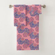 Colorful Mandala Flowers Pattern Bath Towel Set - floral style flower flowers stylish diy personalize