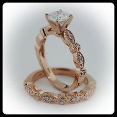 Vintage Wedding Set Moissanite with Diamonds in 14k Rose Gold - Ring Name: Sweet Bliss So simple and elegant!!