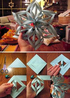 Chrismas paper star-The girls love making these!