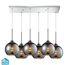 View the ELK Lighting 10240/6RC-CHR HGTV Home Cassandra Six-Light Mini Pendant Cluster with Chrome Glass Shades, in Polished Chrome Finish at Build.com.