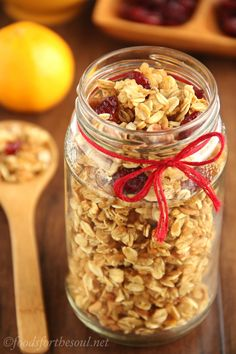 Cranberry Orange Pecan Granola -- sweet, crunchy & skinny! It's so easy to make and great for gifts.