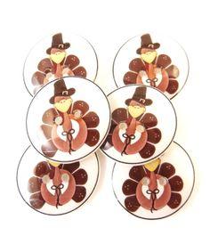 6 Fall Buttons. Thanksgiving Turkey Handmade by buttonsbyrobin