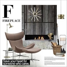 F for Fireplace by szaboesz on Polyvore featuring interior, interiors, interior design, home, home decor, interior decorating, Carl Auböck, Vitra, Arteriors and Noir