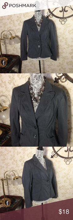 """Gray blazer EUC. Cute blazer by RW & Co. Size 12 measures 23"""" from shoulder to hem with 15"""" sleeve inseams. 20"""" from armpit to armpit.  See photo for composition. Machine wash cold. No rips, stains or holes. Clean and ready to wear from my smoke free and pet friendly home. (necklace not included) RW &Co Jackets & Coats Blazers"""