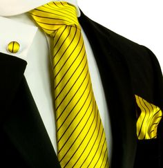 Yellow and Brown Striped Necktie Set by Paul Malone (564CH)