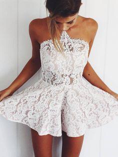 Sexy Lace White Romper