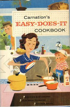 Cute vintage cooking book covers from the 40's and 50's. I like that most of the used illustrations, two colors and super graphic com...