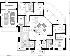 Projekt domu Willa Parkowa 6 207,29 m² - koszt budowy - EXTRADOM Four Bedroom House Plans, Bungalow House Plans, Dream Home Design, House Design, Modern Bungalow Exterior, Beautiful House Plans, House Layouts, Planer, Floor Plans
