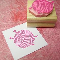 Yarn And Needles Hand Carved Rubber Stamp