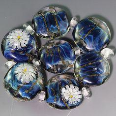 Ikuyoglassart Handmade Lampwork silver glass flower murrini Bead set sra