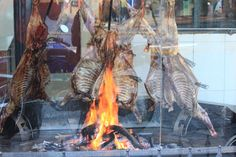 Roast Patagonian lamb on the spit