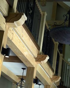 Beautiful Staircase inside our  Spruce Meadows Dream Home #Staircase #Log #TimberFrame #Custom #SpruceMeadows #DiscoveryDreamHomes