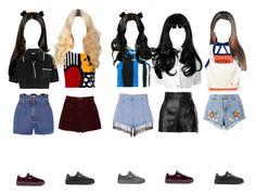 """OT5 2.0 company ad no. 1"" by taekook-junghyung ❤ liked on Polyvore featuring MSGM, Moschino, Valentino, rag & bone, House of Holland, Miu Miu, Off-White and Puma"