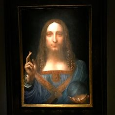 Perhaps the last time this picture will be exhibited publicly #davinci #leonardo #jesus #oldmaster #painting #auction #christie #christies #christiesauction #priceless #museum #expensive #orb #christ #exhibition #travel #traveler #travelgram #vacay #vacation #holidays #holiday #bidding #bid #nyc #newyork #ny #manhattan #newyork