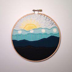 Mountain Sunrise Embroidery Art  #embroidery #mountains #sunrise