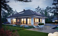 House Plans Mansion, Bungalow House Plans, Bungalow House Design, Tiny House Design, Dream Home Design, Home Design Plans, One Storey House, Terrace Design, House Elevation