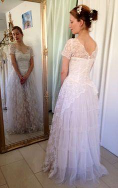 Stunning vintage wedding dress. Go to www.vintageweddingdresseskh.co.uk to see more of our lovely vintage wedding dresses and antique lace dresses