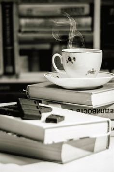 Chocolate, books, and tea. *sigh at the perfection*