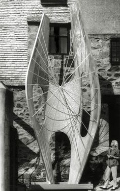 Barbara Hepworth - ((see other picture from this series which includes two assistants (Dicon Nance above, Norman Stocker below) at work on the armature,)) stage one, 1962 Winged Figure