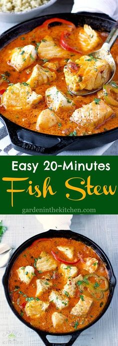 Easy Fish Stew cooked in a delicious, rich and fragrant broth made wi. - Easy Fish Stew cooked in a delicious, rich and fragrant broth made with Hood Sour Cream! Pescatarian Recipes, Vegetarian Recipes, Healthy Recipes, Healthy Salads, Healthy Foods, Fish Dishes, Seafood Dishes, Seafood Stew, Seafood Pasta