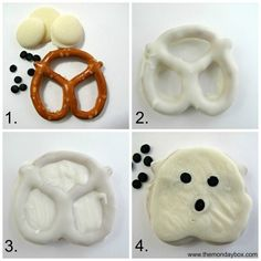 Halloween Pretzels- easy, fast and fun tutorial for 5 chocolate dipped treats! These Halloween cuties can be created in no time and are guaranteed to spread smiles. Halloween Desserts, Halloween Party Snacks, Fete Halloween, Spooky Halloween, Halloween Torte, Halloween Foods, Halloween 2019, Chocolat Halloween, Halloween Chocolate