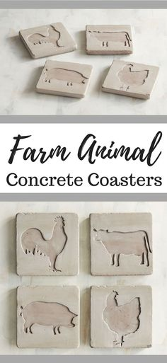 I love these cute farm animal concrete coasters!  Such cute farmhouse decor! #ad #farmhouse #farmhousestyle #farmhousedecor #farmhousekitchen #rustic #rusticdecor #rusticfarmhouse #coasters #concrete #farm #farmlife #animal #animals #pigs #cow #rooster #chickens
