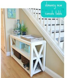 DIY Console Table This website also include plans to make other types of furniture… @ Home Improvement Ideas Types Of Furniture, Furniture Projects, Furniture Plans, Home Projects, Home Furniture, Modern Furniture, Coaster Furniture, Plywood Furniture, Cheap Furniture