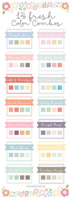I thought I would do something new today, I wanted to create something fresh for you still on my usual color palette model. I decided it would be fun to feature a few color palettes in soft, spring colors for all your design projects. You can download the ASE file here for all 14 palettes. I